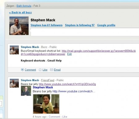 [Screenshot of Stephen Mack's feed in Google Buzz]