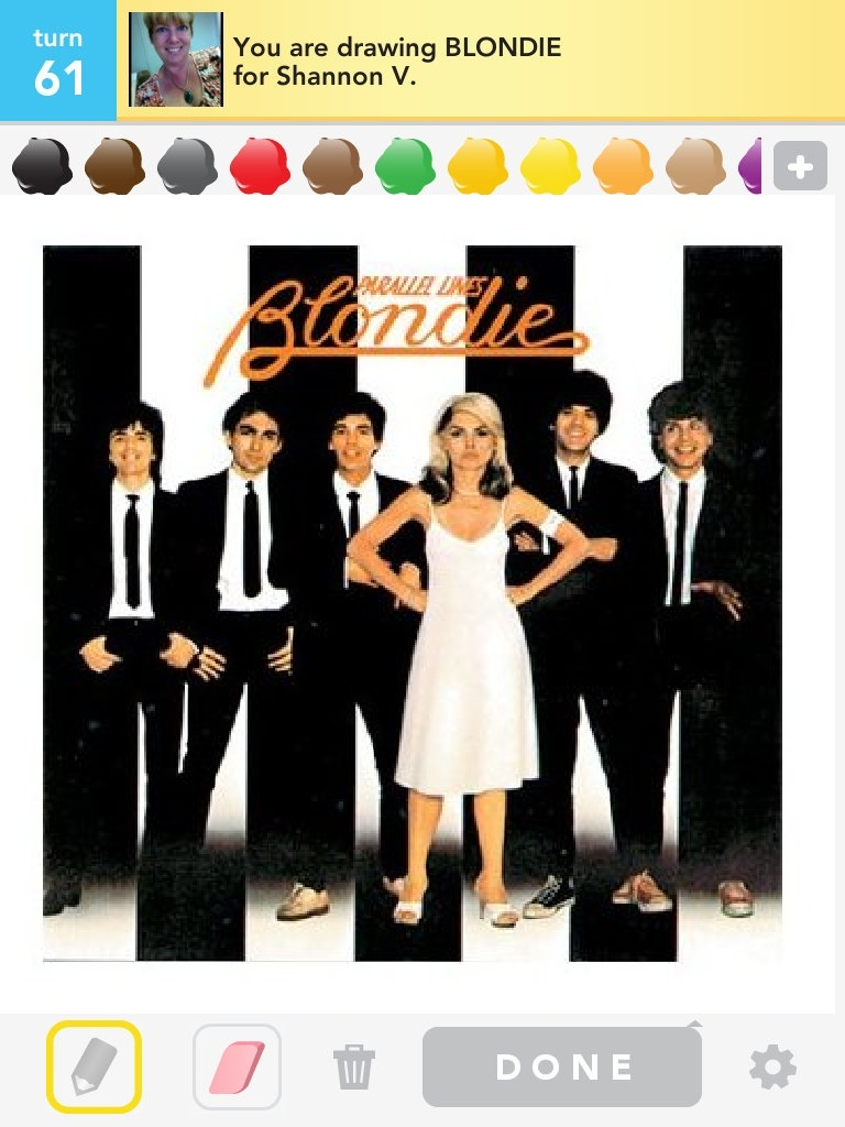 Draw Something screenshot of Blondie's Parallel Lines album