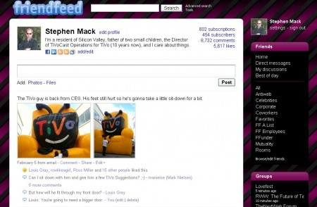 Screenshot of FriendFeed