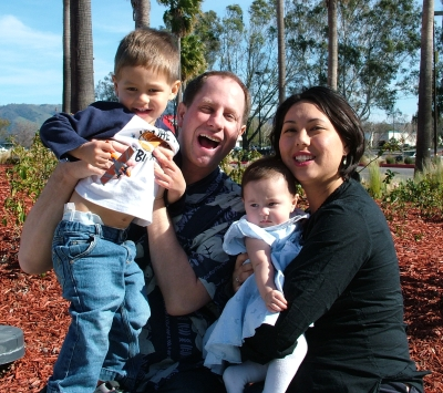 Sammy, Stephen, Sophie, Kimi at Eastridge Mall in San Jose, March 2, 2008; photograph by Jose Montes de Oca