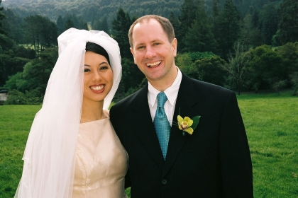 Kimi and Stephen on their wedding day in Berkeley, CA, April 3, 2005; photo by Moses Ceaser