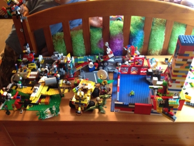 Photo of Sammy and Sophie's Lego creations; Sunnyvale, CA, Tuesday, April 10, 2012