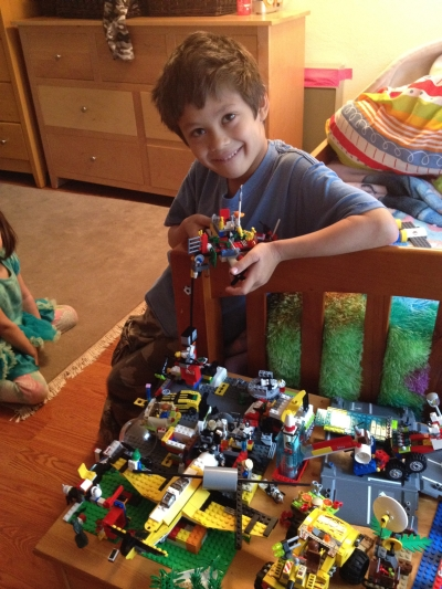 Another photo of Sammy with Lego; Sunnyvale, CA, Tuesday, April 10, 2012