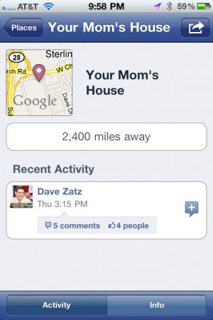 Dave Zatz checked into Your Mom's House. Not my mom's, fortunately.