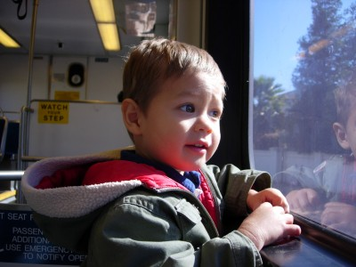 Sammy Mack rides the light rail from Mountain View to San Jose, CA, September 29, 2007