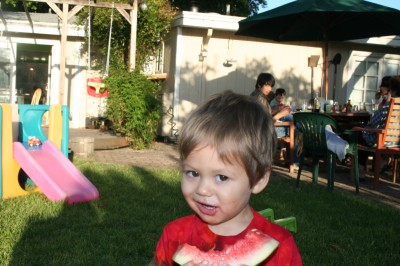 Sammy eating a watermelon, Mountain View, CA, June, 2007