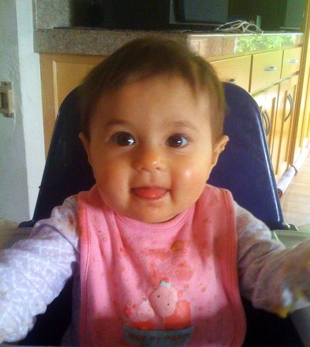 Sophie Mack, almost 9 months old, eats breakfast, Palo Alto, CA, June 17, 2008; photo taken on iPhone (apologies for bad quality)