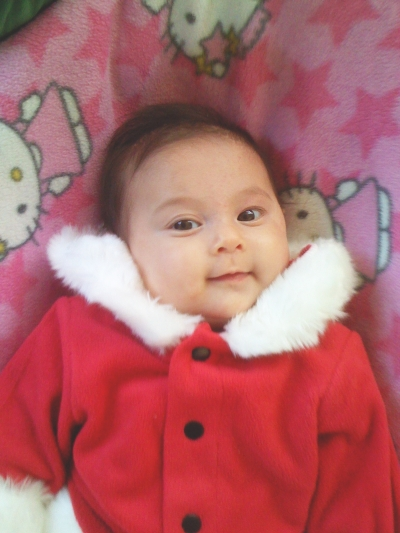 Sophie, aged 3 months, dressed in her Santa suit, Mountain View, CA, sometime in December, 2007