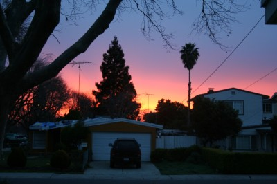Sunrise over Farley Street, Mountain View, CA, February 2, 2008