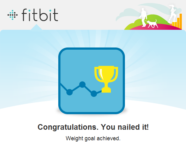 FitBit screenshot: Goal achieved!