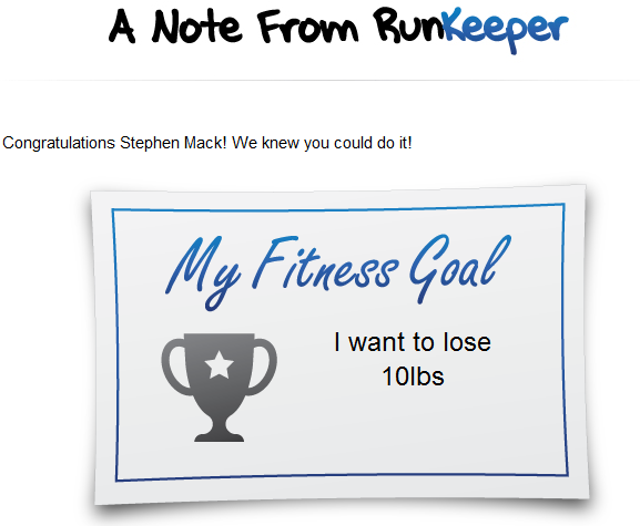 RunKeeper goal achieved