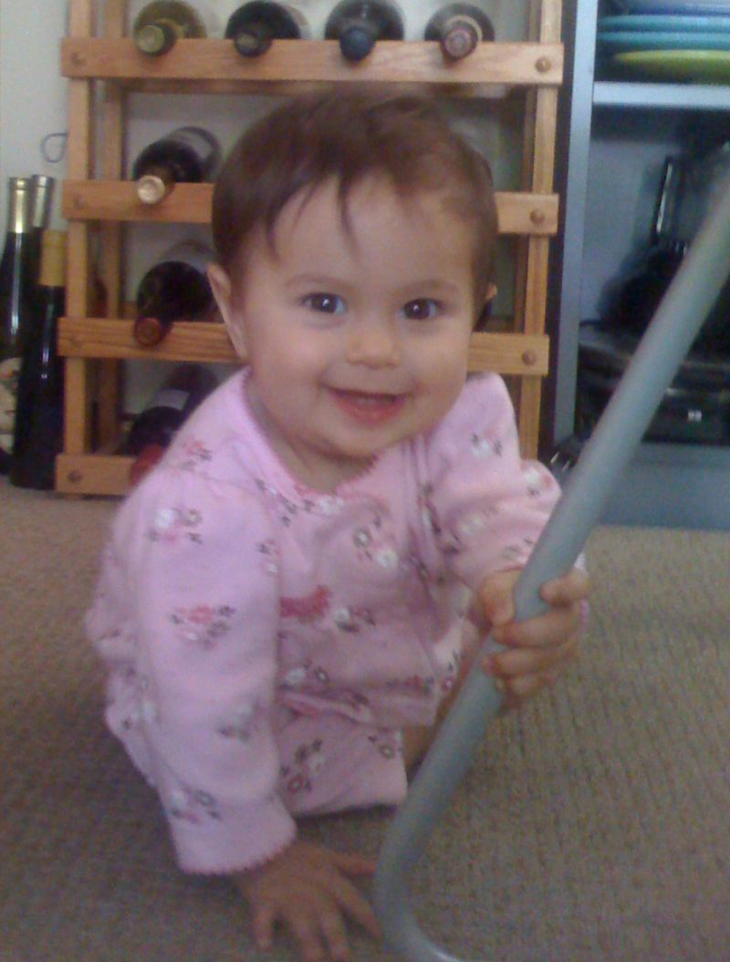 Sophie in 2008, crawling around at her uncle Robert's house